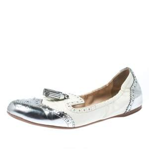 Prada Sport Metallic Silver And White Brogue Patent Leather Tessel Scrunch Ballet Flats Size 39