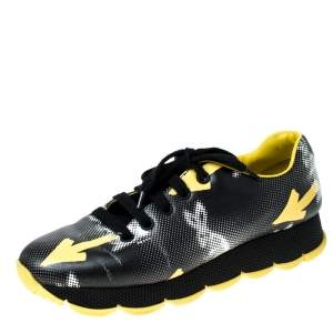 Prada Black/Yellow Arrow Graphic Arrow Leather Lace Up Sneakers Size 40