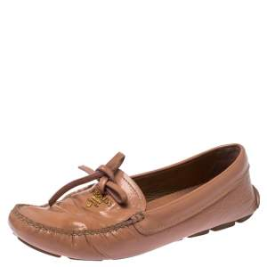 Prada Nude Beige Patent Leather Bow Loafers Size 37