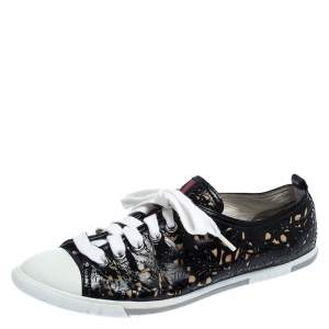 Prada Sport Black Laser Cut Leather Lace Up Low Top Sneakers Size 36.5