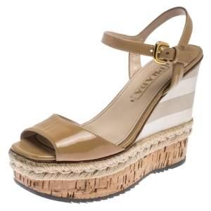 Prada Beige Patent Leather Stripe Cork Platform Wedge Sandals Size 37