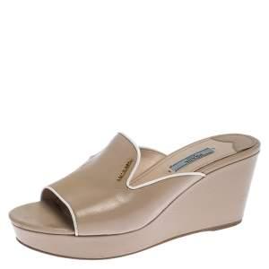 Prada Beige Patent Leather Wedge Slide Sandals Size 39.5