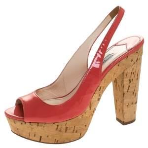 Prada Pink Patent Leather Cork Platform Slingback Sandals Size 36
