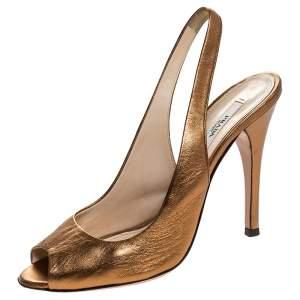 Prada Metallic Bronze Leather Peep Toe Slingback Sandals Size 37