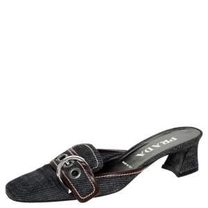 Prada Black Denim Buckle Mule Sandals Size 38