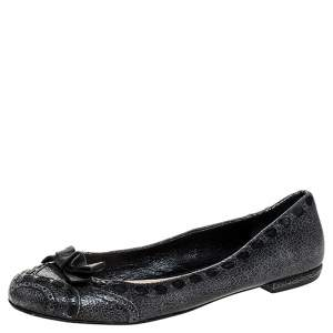 Prada Grey Textured Leather Bow Ballet Flats Size 39.5