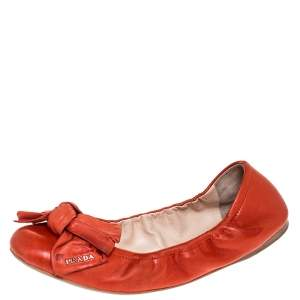 Prada Red Leather Bow Logo Scrunch Ballet Flats Size 40.5