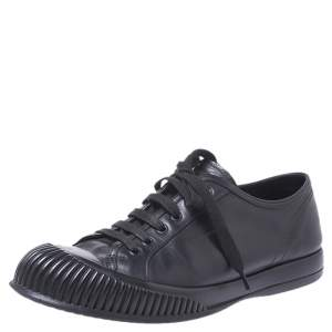 Prada Sport Black Leather Lace Up Sneaker Size 41.5
