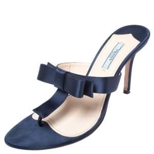 Prada Blue Satin Fuoco Bow Thong Sandals Size 39