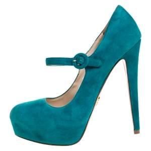 حذاء كعب عالي برادا بطراز ماري جان و بنعل سميك سويدي أزرق مخضر مقاس 37