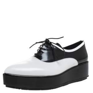 Prada Monochrome Leather Platform Oxford Pointed Toe Flats Size 38.5