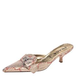 Prada Gold/Red Silk Brocade Mule Sandals Size 38