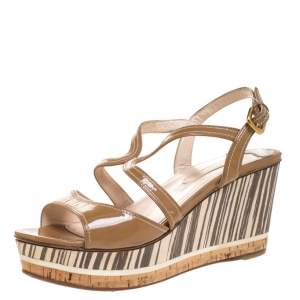Prada Brown Patent Leather Strappy Open Toe Animal Print Wooden Wedge Sandals Size 40.5
