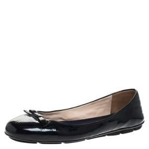Prada Dark Blue Patent Leather Bow Ballet Flats Size 39