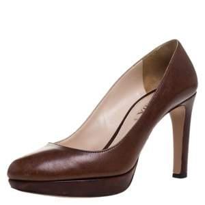 Prada Brown Leather Platform Pumps Size 37