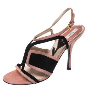 Prada Pink/Black Cut Out Suede Open Toe Ankle Strap Sandals Size 36.5