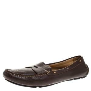 Prada Dark Brown Leather Loafers Size 39