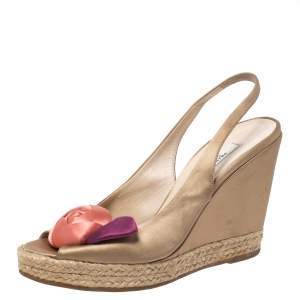 Prada Beige Satin Rose Bud Embellished Peep Toe Slingback Wedge Sandals Size 38