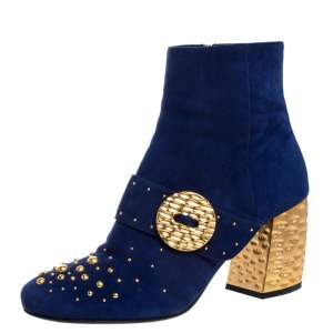 حذاء بوت كاحل برادا مرصع و بكعب سميك ميتاليك سويدي أزرق مقاس 38.5