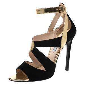 Prada Black/Gold Cut Out Patent Leather and Suede Ankle Strap Sandals Size 38.5