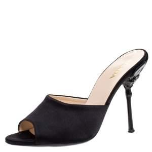 Prada Black Satin Open Toe Sandals Size 39