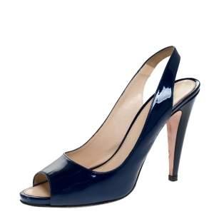 Prada Blue Patent Leather Peep Toe Slingback Sandals Size 40