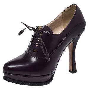 Prada Purple Leather Lace Up Platform Booties Size 36.5