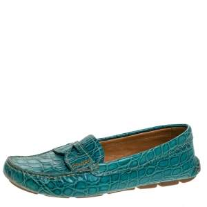 Prada Teal Croc Embossed Leather Penny Loafers Size 37