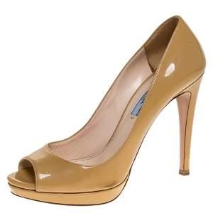 Prada Beige Patent Leather Peep Toe Platform Pumps Size 38.5