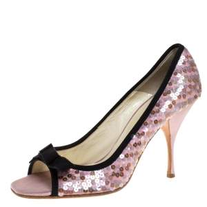 Prada Pink Satin Sequin Embellished Bow Detail Peep Toe Pumps Size 38.5