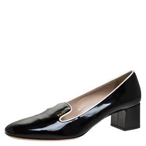 Prada Black Patent Leather Loafer Block Heel Pumps Size 39