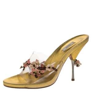 Prada Multicolor PVC and Leather Flower Embellished Slide Sandals Size 38.5