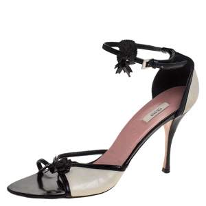 Prada Black/Off White Leather Floral Embellished Ankle Strap Sandals Size 39