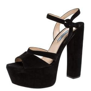 Prada Black Suede Ankle Strap Block Heel Platform Sandals Size 39