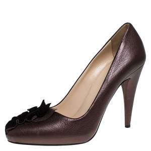 Prada Bronze Leather Ruffle Detail Round Toe Pumps Size 36