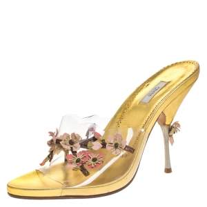 Prada Gold Floral Applique PVC Slide Sandals Size 39