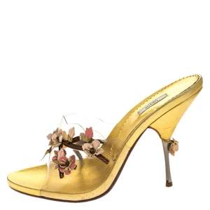 Prada Metallic Gold Leather And PVC Leather Flower Embellished Slide Sandals Size 39.5