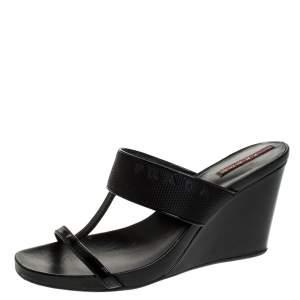 Prada Black Patent Leather And Nylon T-Strap Wedge Slide Sandals Size 38.5