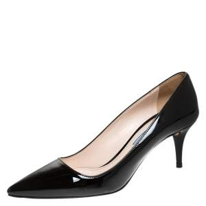 Prada Black Patent Leather Pointed Toe Pumps Size 37