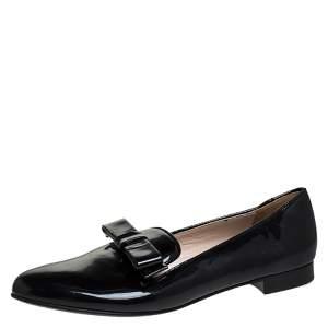 Prada Black Patent Leather Bow Flats Size 40