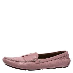 Prada Pink Leather Penny Slip On Loafers Size 39