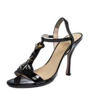Prada Black Crystal Embellished Patent Leather T-Strap Sandals Size 40