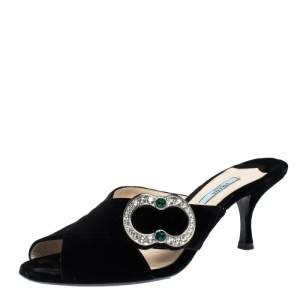 Prada Black Velvet Crystal Embellished Open Toe Mules Size 40.5