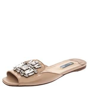 Prada Beige Patent Saffiano Leather Crystal Embellished Flat Slides Size 38.5