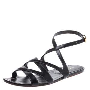 Prada Black Leather Strappy Ankle Strap Flat Sandals Size 37
