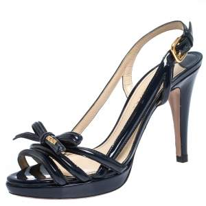 Prada Blue Patent Leather Bow Open Toe Slingback Sandals Size 38.5