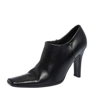 Prada Black Leather Square Toe Ankle Boots Size 37