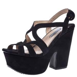 Prada Navy Blue Suede Strappy Platform Ankle Strap Block Heel Sandals Size 37