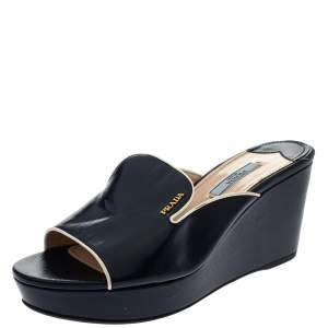 Prada Navy Blue Saffiano Patent  Leather Wedge Slide Sandal Size 38