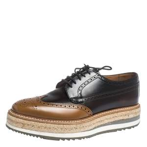 Prada Brown Brogue Leather Derby Espadrille Sneakers Size 39